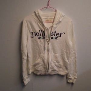 Hollister White & Blue Zip Down Hoody ~ Size Small